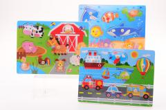 Wooden knobpuzzle ± 30x22 cm. 3 assorted