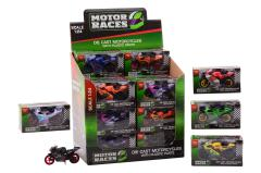 Super Bike motorcycle set 1:24 in display, 6 assorted
