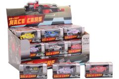 Racing car 1:72 in display, 6 assorted