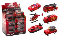 Fire vehicles 1:64 in display 6 assorted