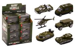 Army vehicles 1:64 in display 6 assorted