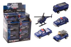 Police vehicles 1:64 in display 5 assorted