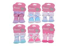 Baby Rose doll socks on card, 6 assorted