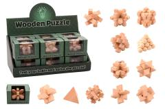 Hersenkraker houten puzzel 12 assorti in display