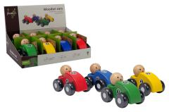 Jouéco® - Wooden cars 4 assorted in display